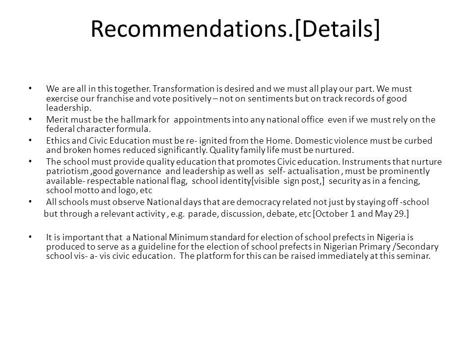 Recommendations.[Details]